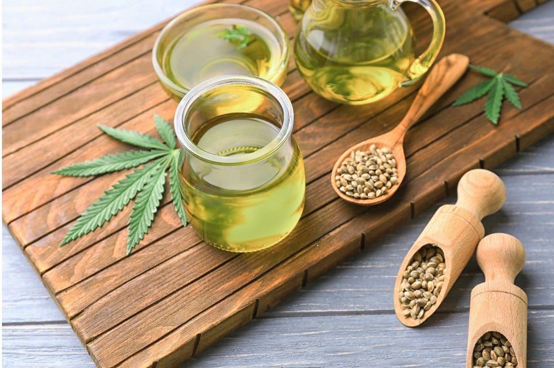 Hemp seeds, oil and marijuana leaf